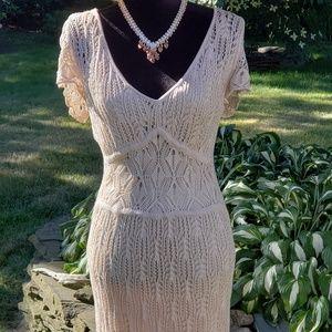 NWOT Beige Woven Dress fully Lined